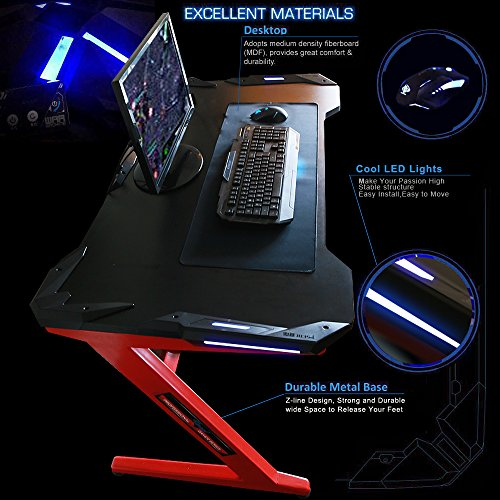 Kinsal Gaming Desk Computer Z Shaped Desk Table With Fighting LED Ambience  Lighting, Racing Table E Sports Durable Gaming Desk Ergonomic Comfortable  PC Desk ...