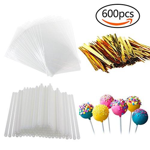 600 PCS Cake Pops Kit - 200 PCS Lollipop Sticks, 200 PCS Wrappers and 200 PCS Twist Ties for Candies, Chocolates, Cookies, Lollipops, (Small Lollipop)