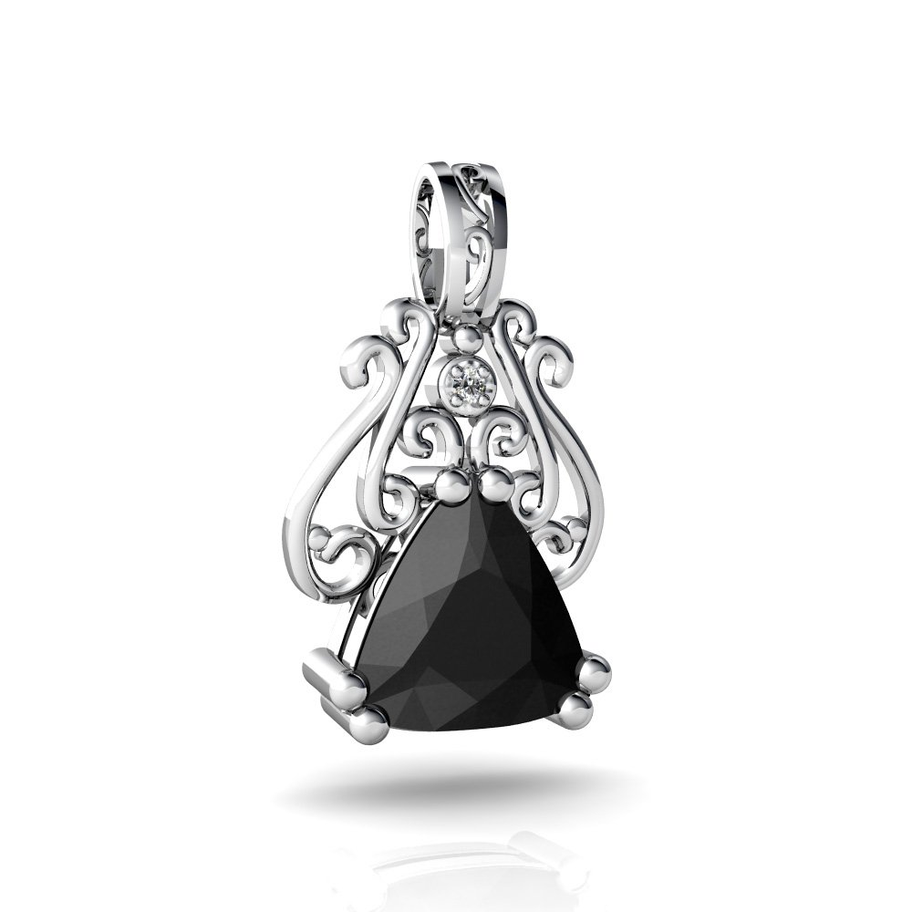 14kt White Gold Black Onyx and Diamond 8mm Trillion Antique Style Pendant by Jewels For Me