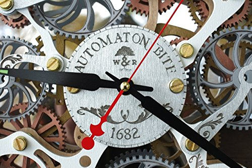 Automaton Bite 1682 White HANDCRAFTED moving gears wall clock by WOODANDROOT transparent steampunk wall clock, unique, personalized gifts, anniversary gift, large wall clock, home decor by WOODANDROOT (Image #1)