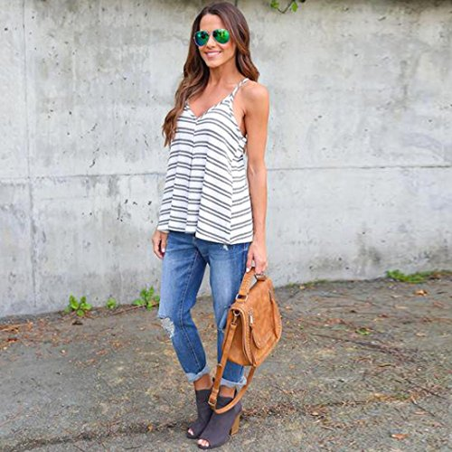 HARRYSTORE Moda Womens Summer Stripe Vest Tops blusa sin mangas Casual Tank Tops Camiseta de la camisa Gris