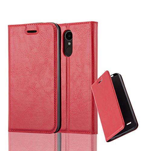 Cadorabo Book Case Works with LG K4 2017 in Apple RED - with Magnetic Closure, Stand Function and Card Slot - Wallet Etui Cover Pouch PU Leather Flip ()