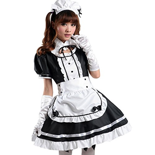 Colorful House Women's Cosplay French Apron Maid Fancy Dress Costume Black XL (US 8-10) (Fancy Dress Costume)