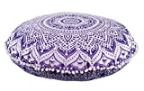 32'' Round Floor Pillow, Ethnic Large Cushion, Decorative Throw Pillow Cover, Meditation Cushions, Mandala Pillow Cases, Ottoman Poufs, Indian Pillow Shams With Insert (Pattern 2)