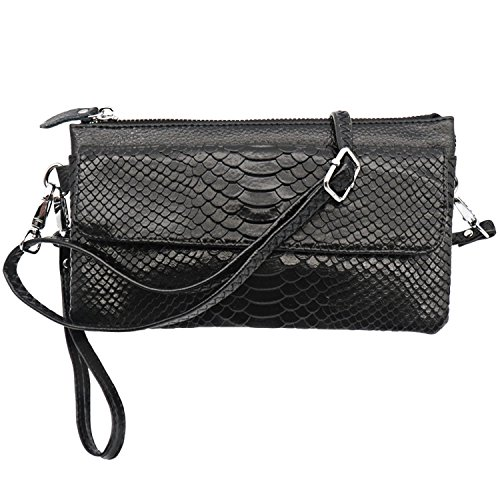 Shalwinn Crossbody Purse Cell Phone Purse Genuine Leather Crossbody Purse Cell Phone Purse Crossbody Handbag Purse for Women Girls with Adjustable Long Shoulder Strap and Wrist Strap (886#Black) by Shalwinn