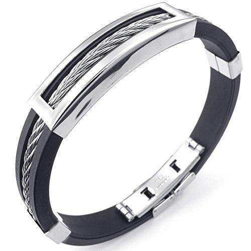 KONOV Mens Rubber Stainless Steel Bracelet, Classic Bangle, Black Silver