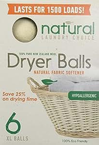 Natural Laundry Choice 6 Xl Wool Dryer Balls Natural Fabric Softener
