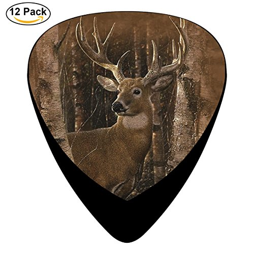 Birchwood Buck Deer Celluloid Guitar Picks 12 Pack Includes Thin,Medium,Heavy Gauges For Electric Acoustic ()