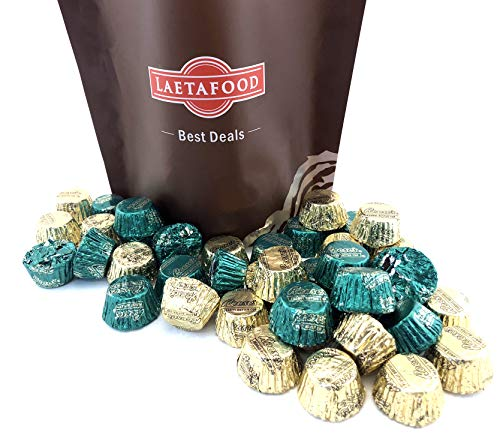 LaetaFood Bag - Reese's Miniatures Peanut Butter Cups, St. Patricks Day Candy Mix, Green Gold Foils (Pack of 2 pound) ()