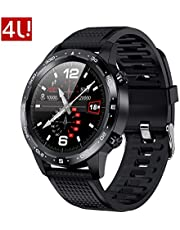 "4U.L12 Smart Watch 1.3"" Full-Touch Screen Notification&Call Sports Health Tracking ECG+HR+BP+SPO2 Sleep Monitor Sedentary Calorie Pedometer IP68 Waterproof Creative Gift"