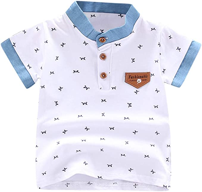 ZHMEI Camisetas niña | Niño Niños Bebés Niños Imprimir Letra Caballero Botón Camisa Tops Ropa de Camiseta 0-5 años: Amazon.es: Ropa y accesorios