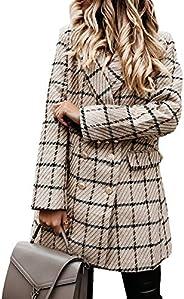 FAROOT Women's Open Front Long Sleeve Double Blazer Breasted Casual Plaid Blazer Ja