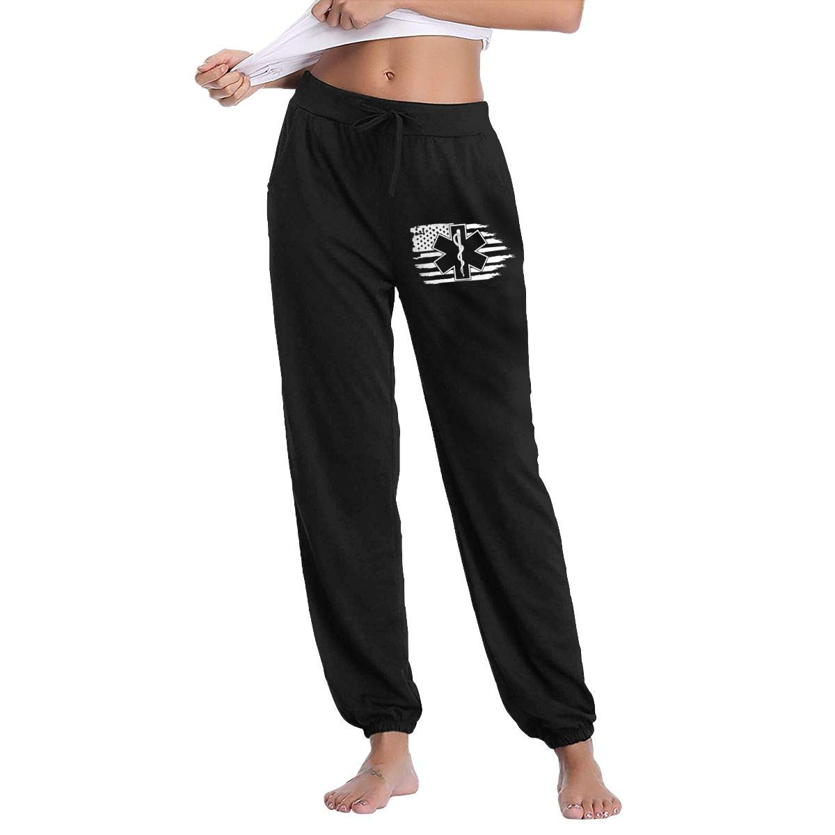 XingxDianD American Flag EMS Star of Life EMT Paramedic Medic Women Joggers  Sweatpants Cotton Long Pants with Pockets at Amazon Women s Clothing store  ecc06986e