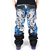 Pizoff Men's Hip Hop Baggy Jeans Denim with Exaggerated Embroidery