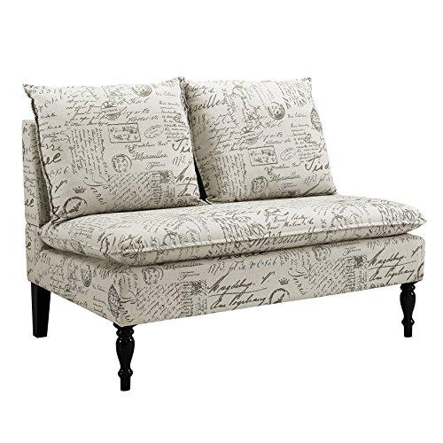 Pulaski  French Script Settee Banquette Chair, Biege