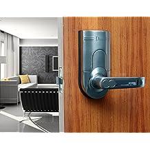 Assa Abloy Digi Weatherproof Bio-metric Security Keyless Keypad Fingerprint Door Lock Lever Entry 6600-86 (Right Lever Handle, Intersected Chrome)