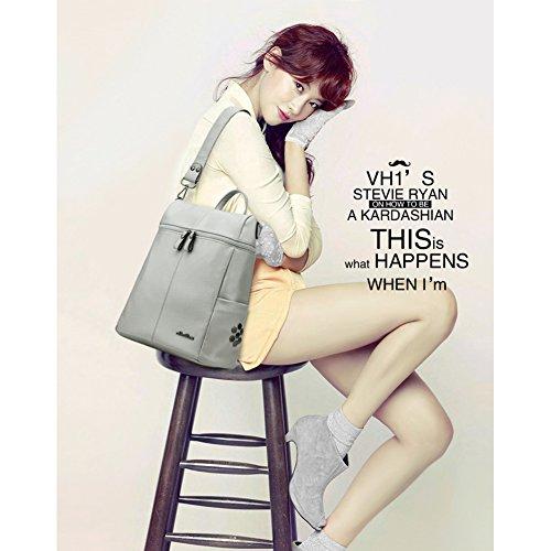 Mochila de piel suave para mujeres y niñas estilo Campus universitario coreano, a la moda. gris