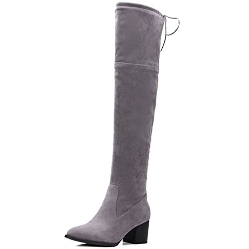 b2d65c6d95f Smilice Large Size   Small Size Women Over The Knee High Boots with Block  Heel (