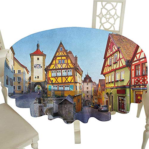 Cranekey Printing Round Tablecloth 60 Inch German,Rothenburg ob der Tauber Bavaria Germany Famous Street with Colorful Classic Houses Multicolor Great for,Party & More