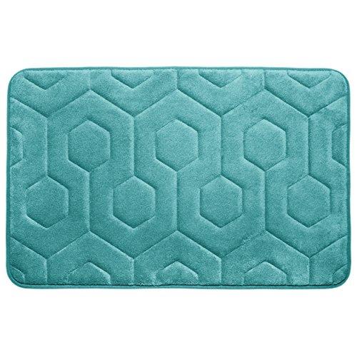 "Bounce Comfort Hexagon Memory Foam Bath Mat, 20 by 34"", Turquoise -  Creative Home Ideas, YMB004342"