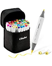 48 Colors Alcohol Brush Markers, Ohuhu Double Tipped (Brush & Fine Tip) Sketch Markers for Kids, Artist Art Markers for Adult Coloring and Illustration, Bonus 1 Blender, Great Mother's Day Gift Idea