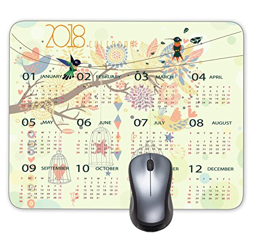 New Year 2018 Calendar HD Font Does Not Hurt the Eyes Mouse Pad, Anti Skid Personalized Rectangle Painting Birdcage Bird Standing Tree Size: