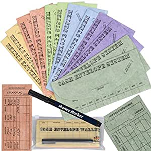 Budgetizer Cash Envelopes System - 12 Pack Budget Planner Envelopes -Assorted Colors Money Envelopes - Bundle with 1 Cash Organizer Wallet and 1 Counterfeit Bill Marker Detector