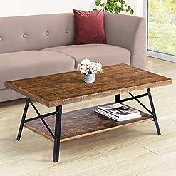 Farmhouse Coffee Tables PrimaSleep 46″ W Solid Wood Top & Steel Legs Cocktail Coffee Sofa Dining Garden Table, Rustic Brown farmhouse coffee tables