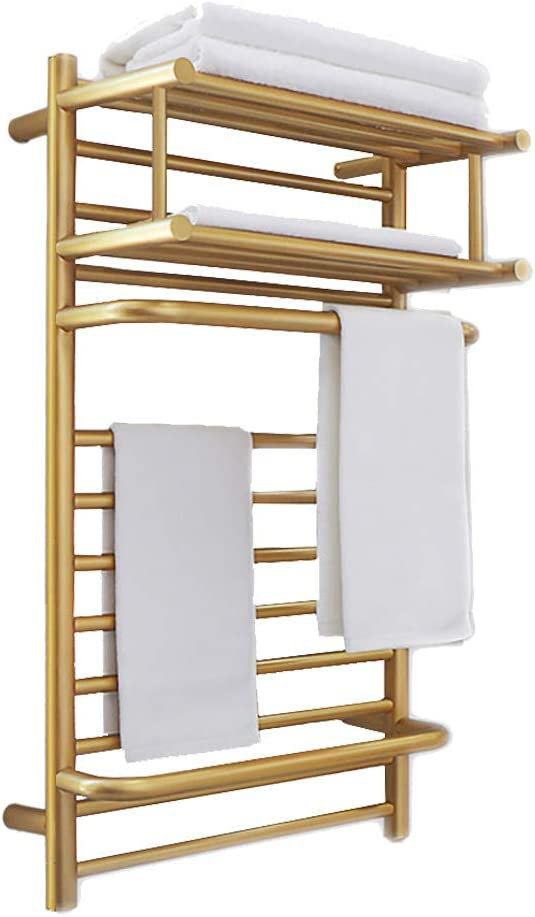 RDREAM Wall Mounted Electric Heated Towel Rack Heated, Plug-in/Hardwired Towel Warmer Electric Heated Clothes Airer Dryer, Quick Towel Dryer for Bathroom Home with On/Off Switch, Brushed Gold,Gold,1