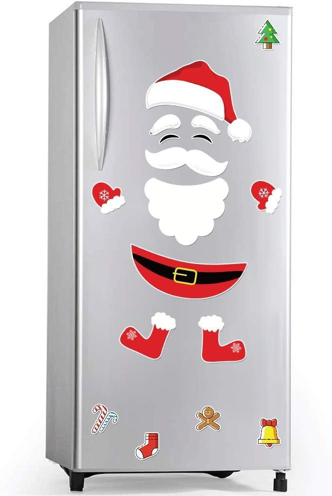 Santa Claus Refrigerator Magnets Christmas Hat White Beard Black Belt Cartoon Festival Christmas Decor Metal Door Art Wall Garage Refrigerator Oven Display Cabinet Stickers,17 PCs