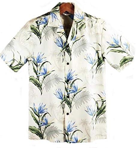 メンズ アロハシャツ ハワイ製 ウィニーファッション ライトイエロー/極楽鳥花 Winnie Fashion ベージュ