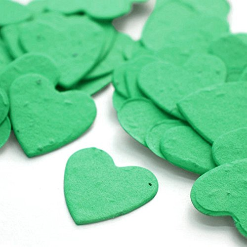 Heart Shaped Plantable Seed Confetti (Emerald Green) - 350 pieces/bag
