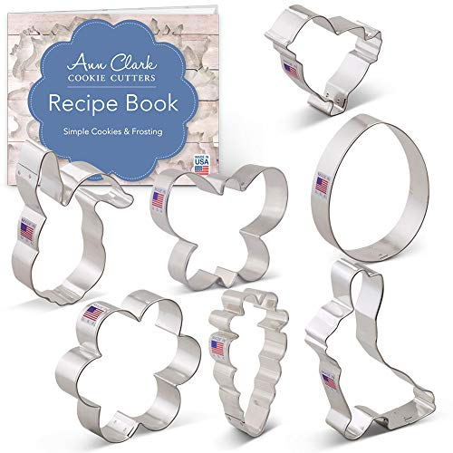 (Easter Cookie Cutter Set with Recipe Booklet - 7 piece - Egg, Carrot, Bunny, Flower, Chick, Bunny Face and Butterfly - Ann Clark - Tin Plated Steel)