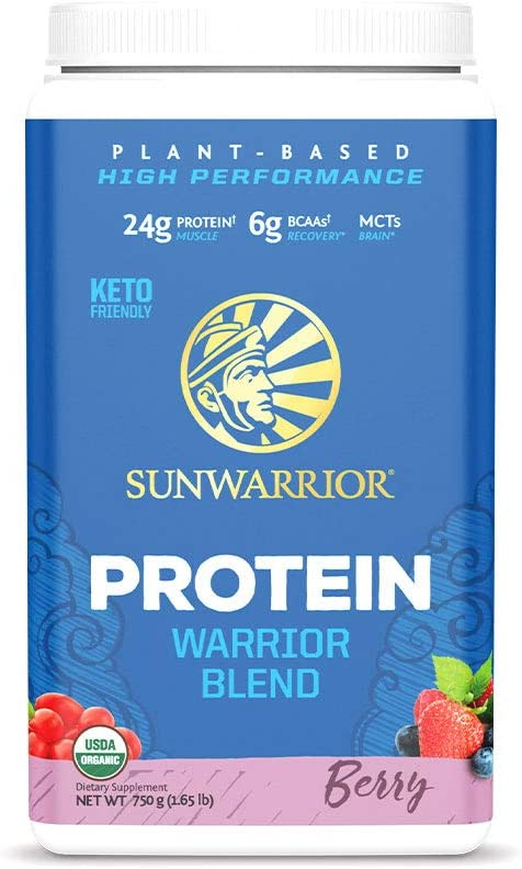 Sunwarrior Warrior Blend, Organic Vegan Protein Powder with BCAAs and Pea Protein: Dairy Free, Gluten Free, Soy Free, Non- GMO, Unsweetened Protein Powder, and Keto Friendly, Vegetarian (Berry 750g)