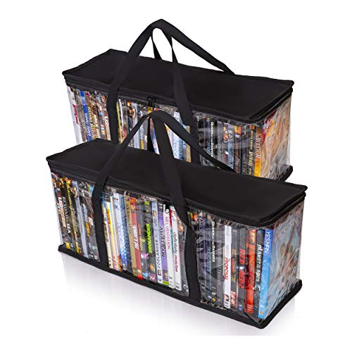 Black Double Multimedia Storage Tower - Besti Home DVD Storage Bags (2-Pack) Holds 80 Total Movies or Video Games, Blu-ray, | Convenient Travel Case for Media | Stackable, Easy to Carry