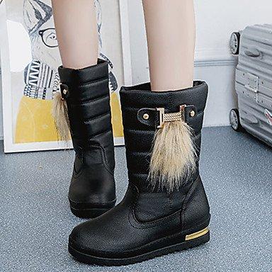 RTRY Zapatos De Mujer Moda Otoño Invierno Pu Botas Botas Ronda Toe Botines/Botines De Caqui Casual Blanco Y Negro US6.5-7 / EU37 / UK4.5-5 / CN37