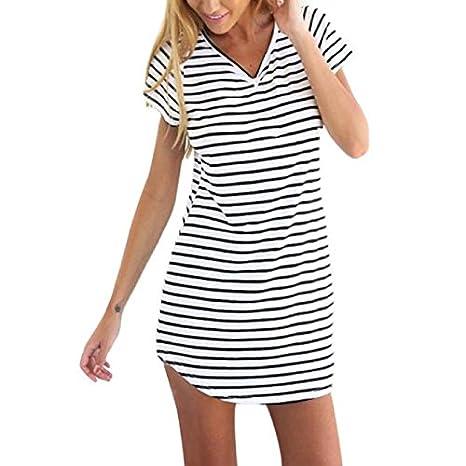 Mosstars Vestidos de baño para Mujer 2019 Nueva Mujer Cuello Redondo Manga Corta a Rayas Camiseta Suelta Mini Vestido Faldas Mujer Fiesta Vestidos Mujer ...