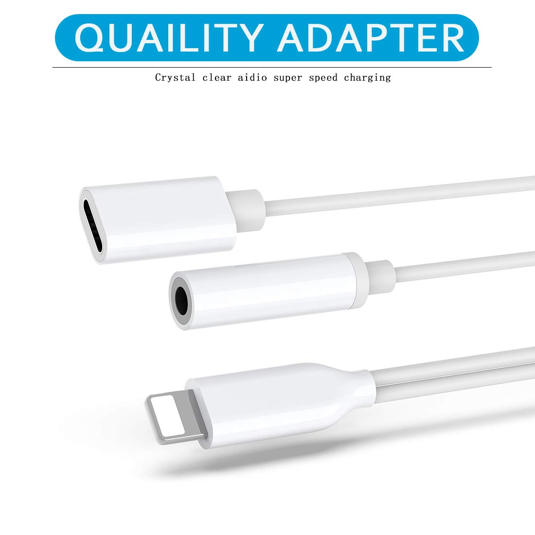 Headphone Adapter for iPhone X for iPhone Dongle 3.5 mm Jack Aux Adapter 2 in 1 Earphone Splitter Adapter Charger Cables /& Audio Connector for iPhone Xs//Xs Max//XR// 8//8 Plus //7//7 Plus Support All iOS