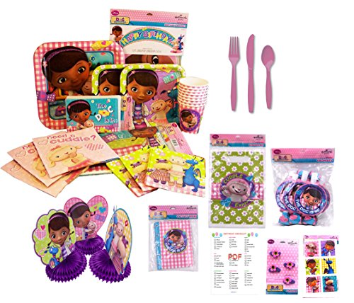 Doc McStuffins Party Supplies Bundle - Birthday Party Decorations FOR 8 GUESTS Dinner and Lunch Paper Plates, Napkins, Cups, Invitations, Tablecover, Happy Birthday Banner, Favors and Cutlery