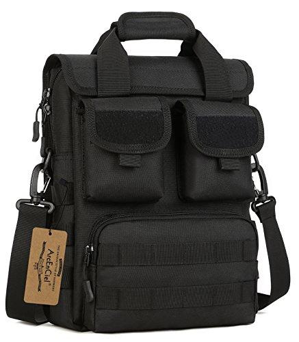 - ArcEnCiel Men Outdoor Tactical Bag Oxford Molle Messenger Bags Military Camouflage Crossbody Shoulder Bags Sports Toolkit Handbag (Black)
