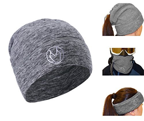 ZOOMUP Sport Windproof Beanie Skull Cap, 3-in-1 for Multi-Purpose,Easily Convert to Neck Warmer, Ear Warmer & Face Mask, Two Reflective Stripes,Unisex -