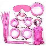 Bbshop 8 pcs Adult Costume SM Kit PU Leather Luxury Handcuffs Sexy Costume Restraint Kits-Pink