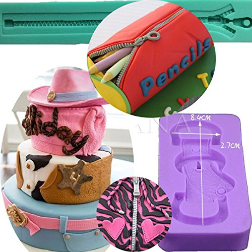 Anyana long bag zipper Baking Molds strap belt Silicone Fondant molds buckle Cake Decorating Tools Gumpaste punk cupcake topper decorations resin Clay Chocolate Candy Molds easy to use set of 2