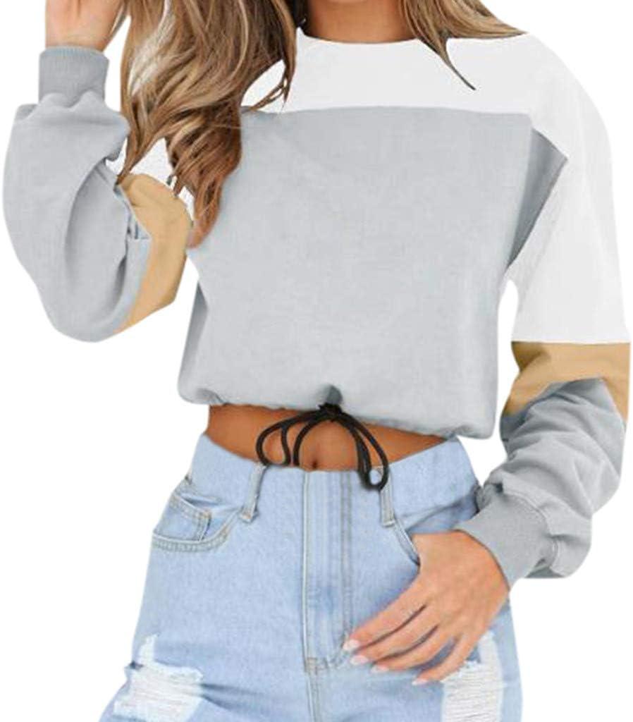 ღLILICATღ Sudaderas Mujer,Otoño Invierno Original Tumblr Patchwork Crop Tops Camisas Dobladillo con Cordones Sudaderas Cortas Sudaderas Adolescentes Chicas: Amazon.es: Hogar