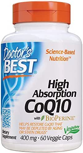 Doctor's Best High Absorption CoQ10 with BioPerine, Non-GMO, Vegan, Gluten Free, Naturally Fermented, Heart Health and Energy Production, 400 mg 60 Veggie Caps