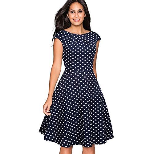 CHIC DIARY 1950er Vintage Kleid Retro Elegant Cocktailkleid Damen Tupfen A Linien runder Kragen Rockabilly Abendkleid Blau