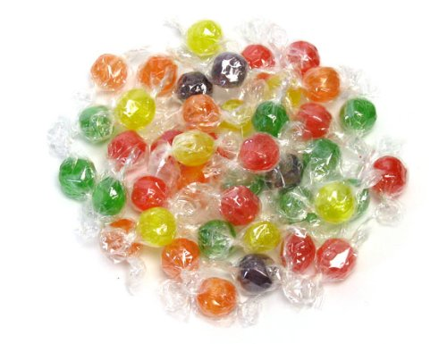Sweetgourmet Traditional Sour Fruit Balls | Orange, Grape, Cherry, Lemon, Lime | Bulk Hard Candy Wrapped | Kosher | 2 Pounds - Sours Fruit Balls Candy