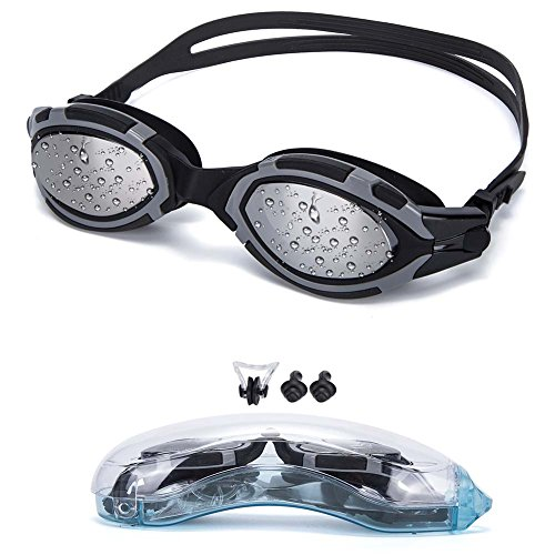Swim Goggles! HENDGO Swimming Goggles No Leaking Anti Fog Shatterproof UV Protection,free Silicone Nose Clip Ear Plugs and Protection Case Swim Goggles Suit for Men Women-Best Swim Glasses (Black) (Square Covered Buckle)