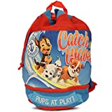 Paw Patrol Boy's Beach Drawstring Cinch Backpack Tote Bag (Blue/Red)