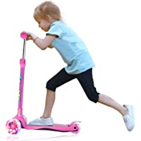Kick Scooter for Kids 3 Wheel Scooter, Adjustable Handlebar, Lean to Steer with LED Light Up Wheels for Boys and Girls Ages 3-13 …